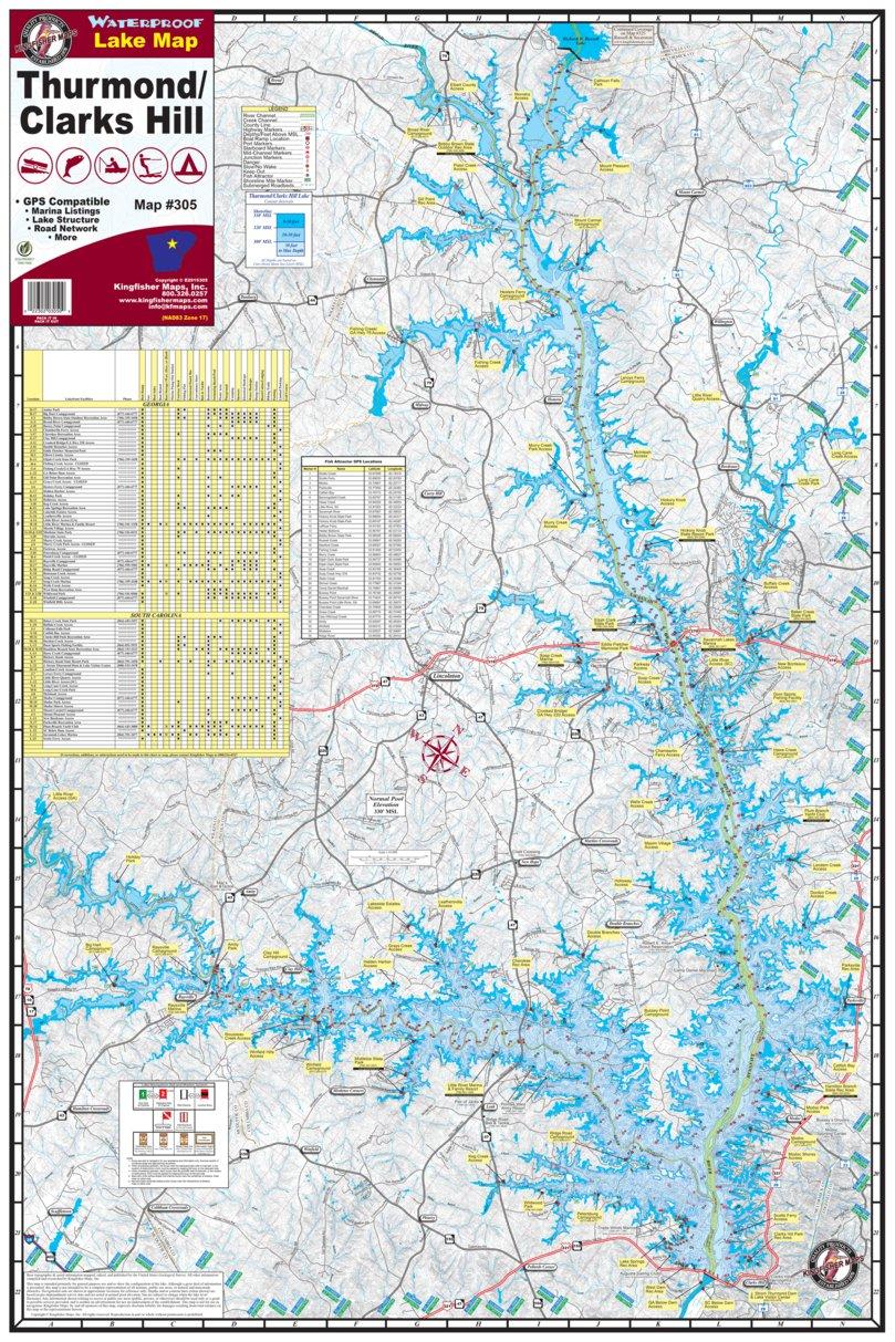 clark hill lake map Thurmond Clarks Hill Lake Kingfisher Maps Inc Avenza Maps clark hill lake map