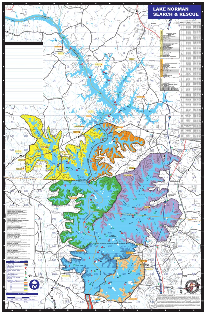 Lake Norman Map SAR Kingfisher Maps Inc Avenza Maps