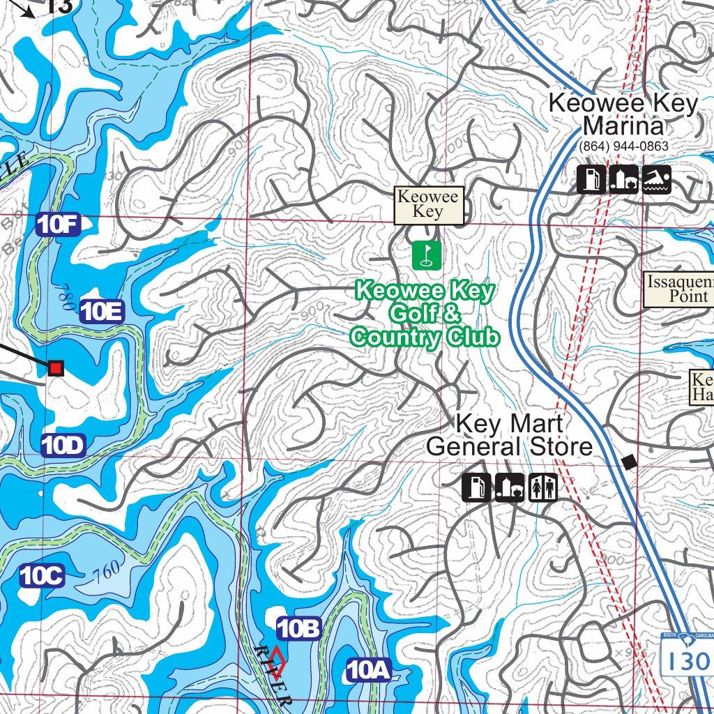 map of lake keowee Kingfisher 324 Gps Fishing Map map of lake keowee