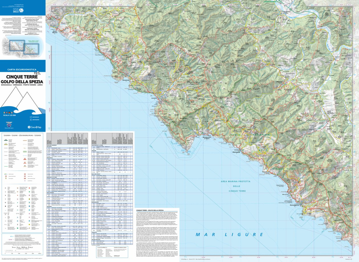 Cinque Terre hiking map 1:25000 n 721 - Geo4map - Avenza Maps