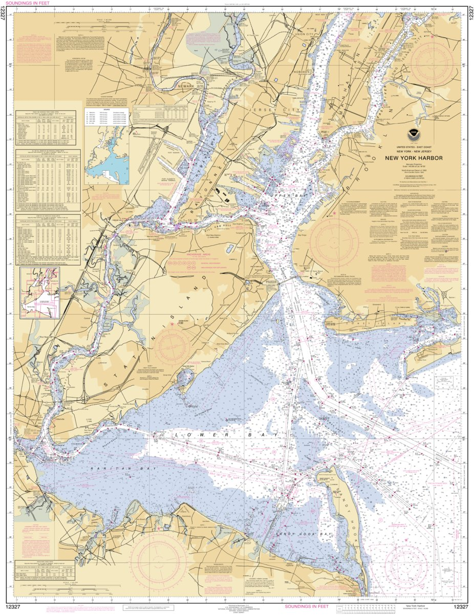 Map Of New York Harbour.New York Harbor National Oceanographic Atmospheric