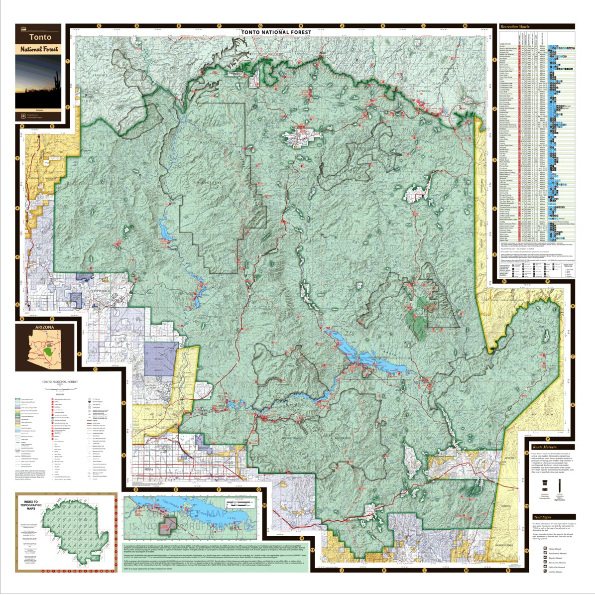 Tonto National Forest Visitor Map Us Forest Service R3 Avenza Maps
