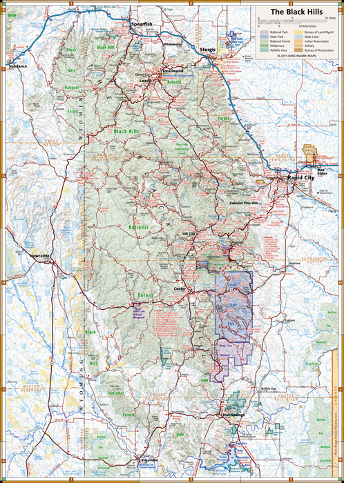 South Dakota Black Hills Region Map - Benchmark Maps - Avenza Maps