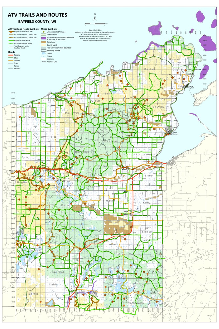 ATV Trails and Routes - Bayfield County, WI - 2018 ... on transport map of routes, map of us interstate routes, us map road trip, map of the united states with routes, us interstate highway maps routes, map of amtrak train routes, world map with routes,