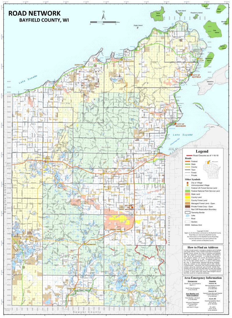 Wi Road Map Road Network   Bayfield County, WI   2017   Bayfield County  Wi Road Map