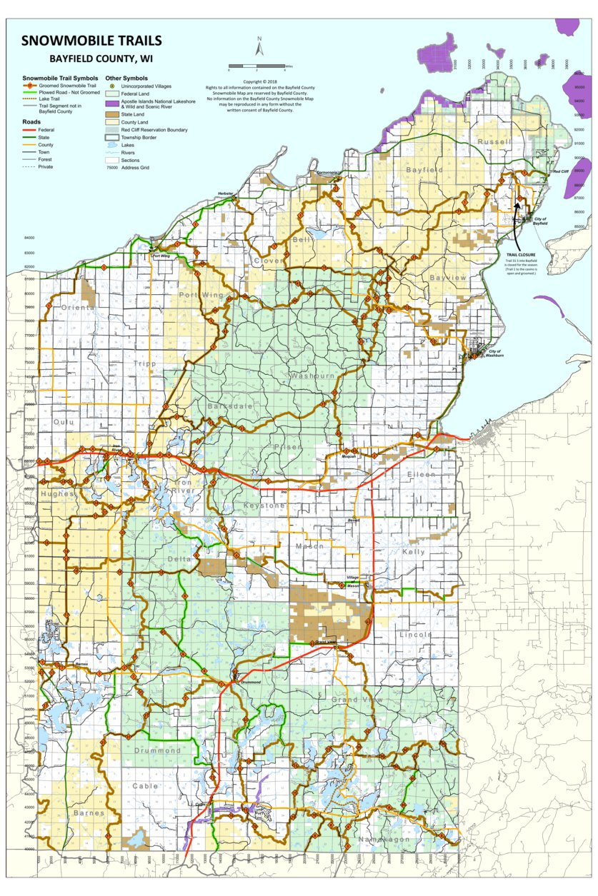 Snowmobile Trails - Bayfield County, WI - 2019 - Bayfield ... on chippewa county wi trail map, vilas county snowmobile map, sawyer county plat maps, milwaukee county trail map, sawyer county warrant list, washburn atv trail map, rusk county texas map, sawyer county record obits, lake sawyer trail map, walker valley orv trail map, sawyer county wisconsin snowmobile trails, vilas county atv trail map, sawyer county wisconsin map, sawyer county wi, sawyer county land records, wisconsin national forest map, iron county snowmobile map, douglas county trail map, washington county ny snowmobile map, chautauqua trail map,
