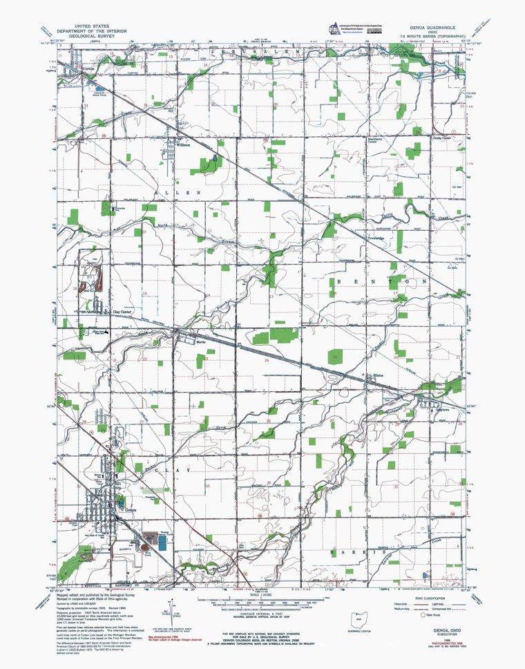 Genoa Ohio Map.Oh Genoa Authoritative Us Topos 1966 Western Michigan University