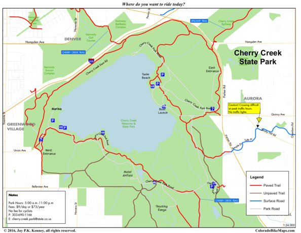 Cherry Creek State Park Map Cherry Creek State Park   ColoradoBikeMaps.  Avenza Maps Cherry Creek State Park Map