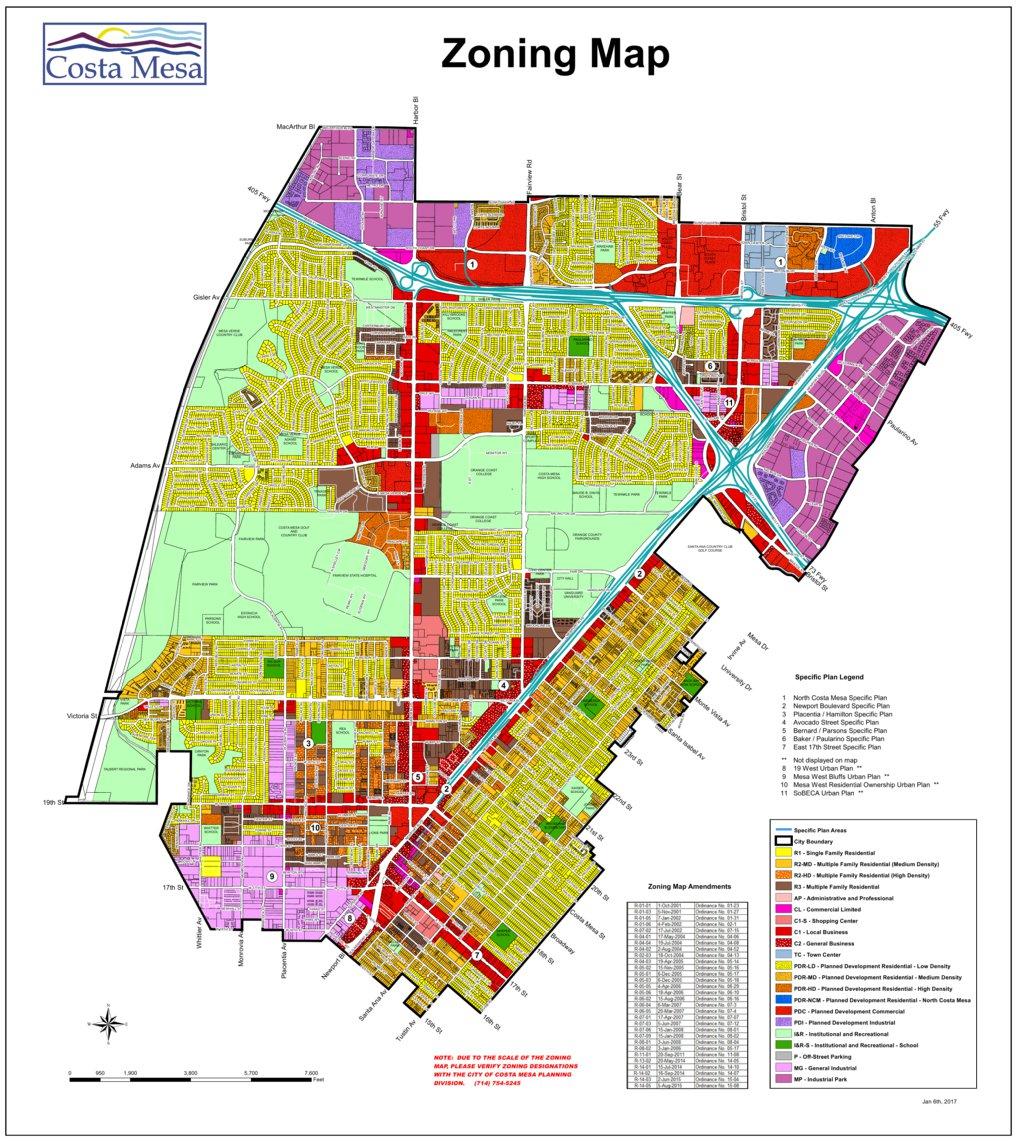 City of Costa Mesa Zoning Map 2017 hoogw Avenza Maps