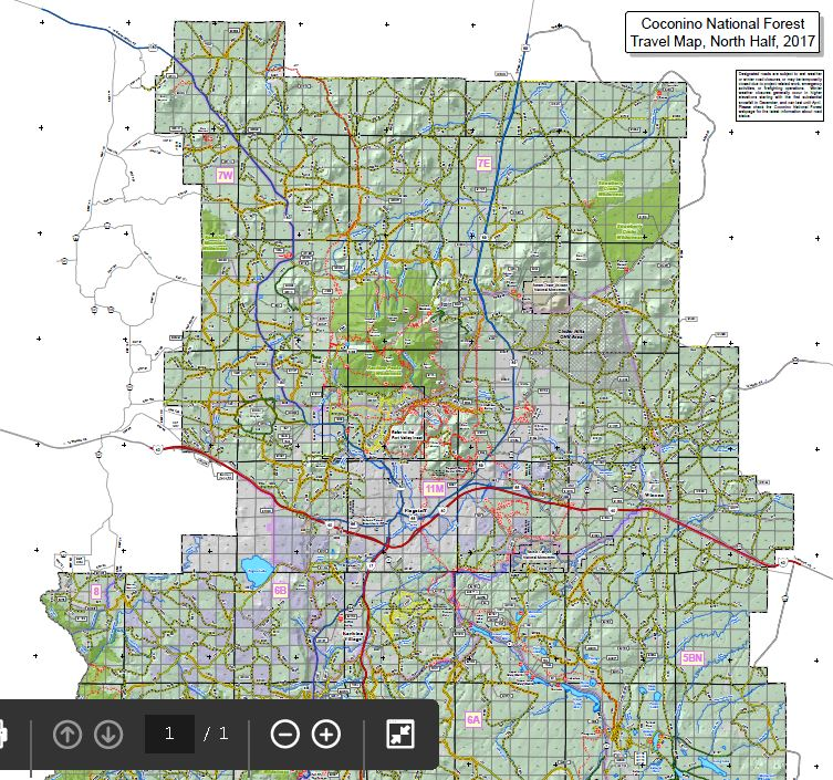 Coconino National Forest 2017 Travel Map