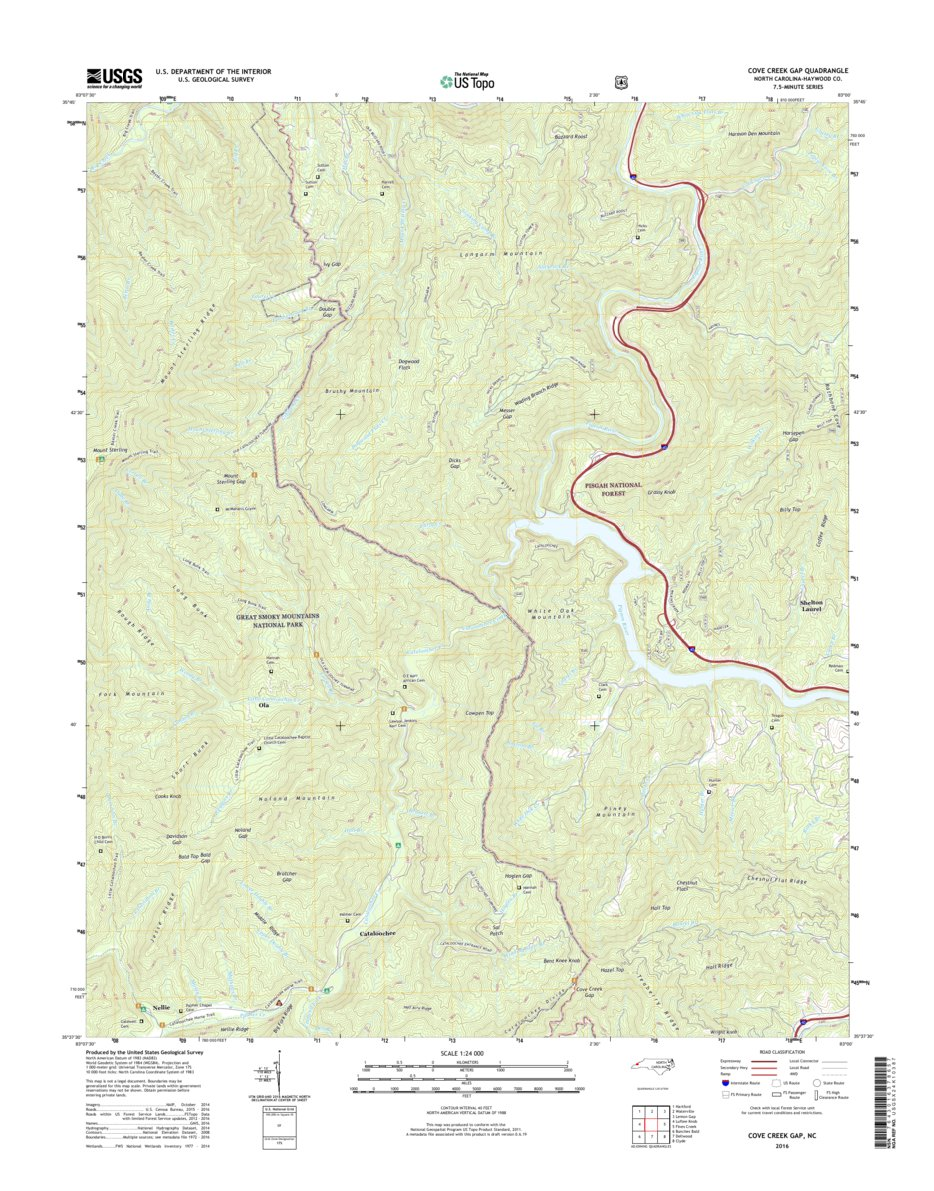 NPS/USGS 2016 Cove Creek Gap Topographic Map - Great Smoky Mountains ...
