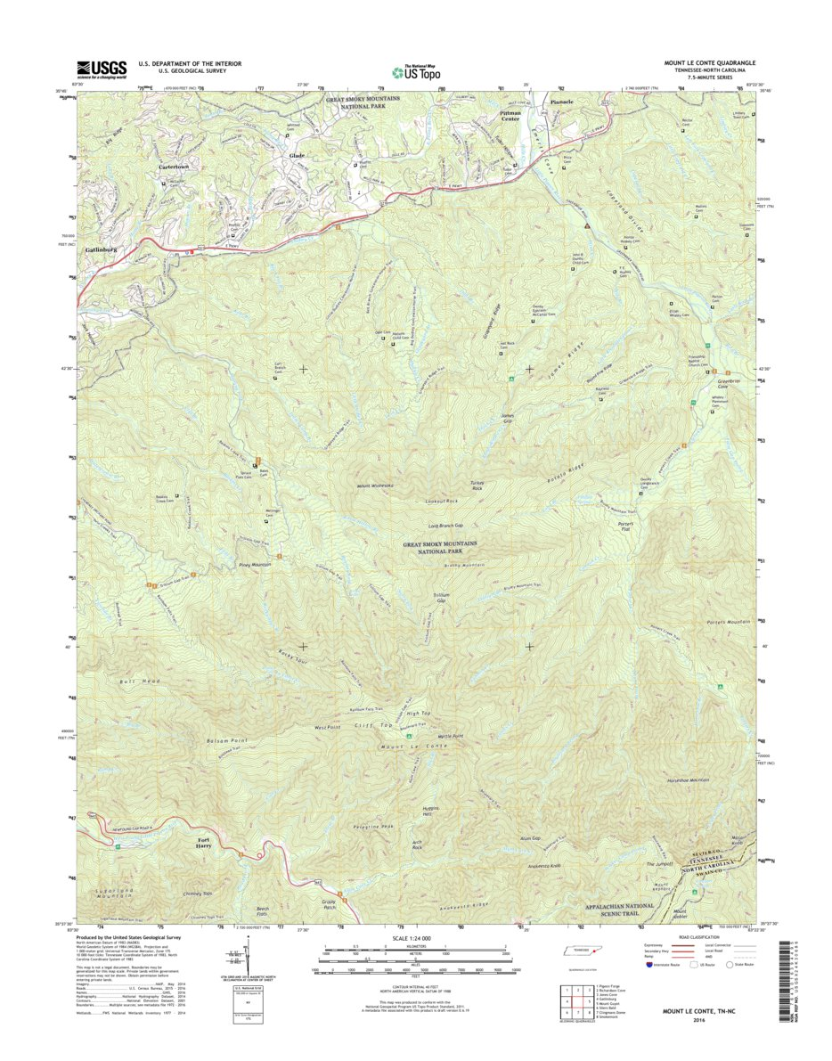 NPS/USGS Great Smoky Mountains National Park 2016 Topographic Map ...