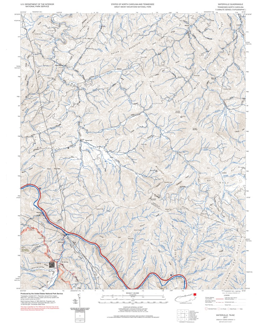 smoky mountain topographic map Nps Great Smoky Mountains National Park 2017 Topographic Map