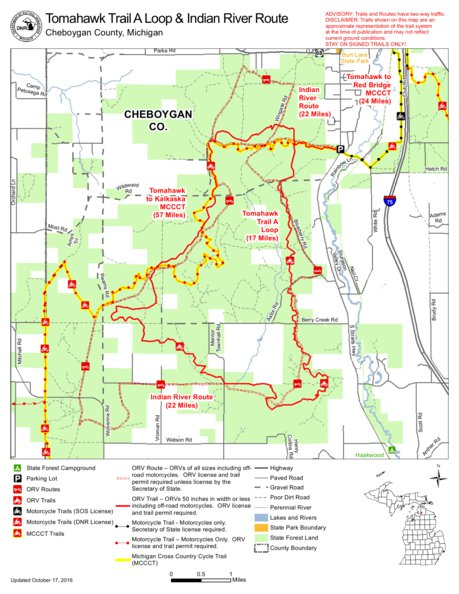 Tomahawk Trail A And Indian River Route Cycle Conservation Club