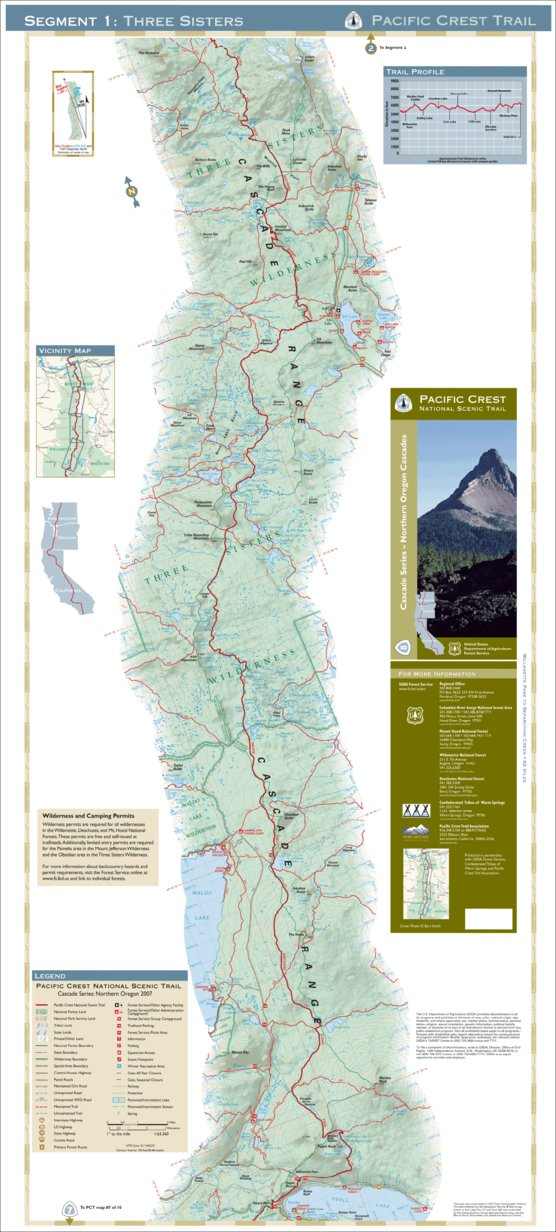 Pacific Crest National Scenic Trail - Map 8 Seg 1 - Northern ...
