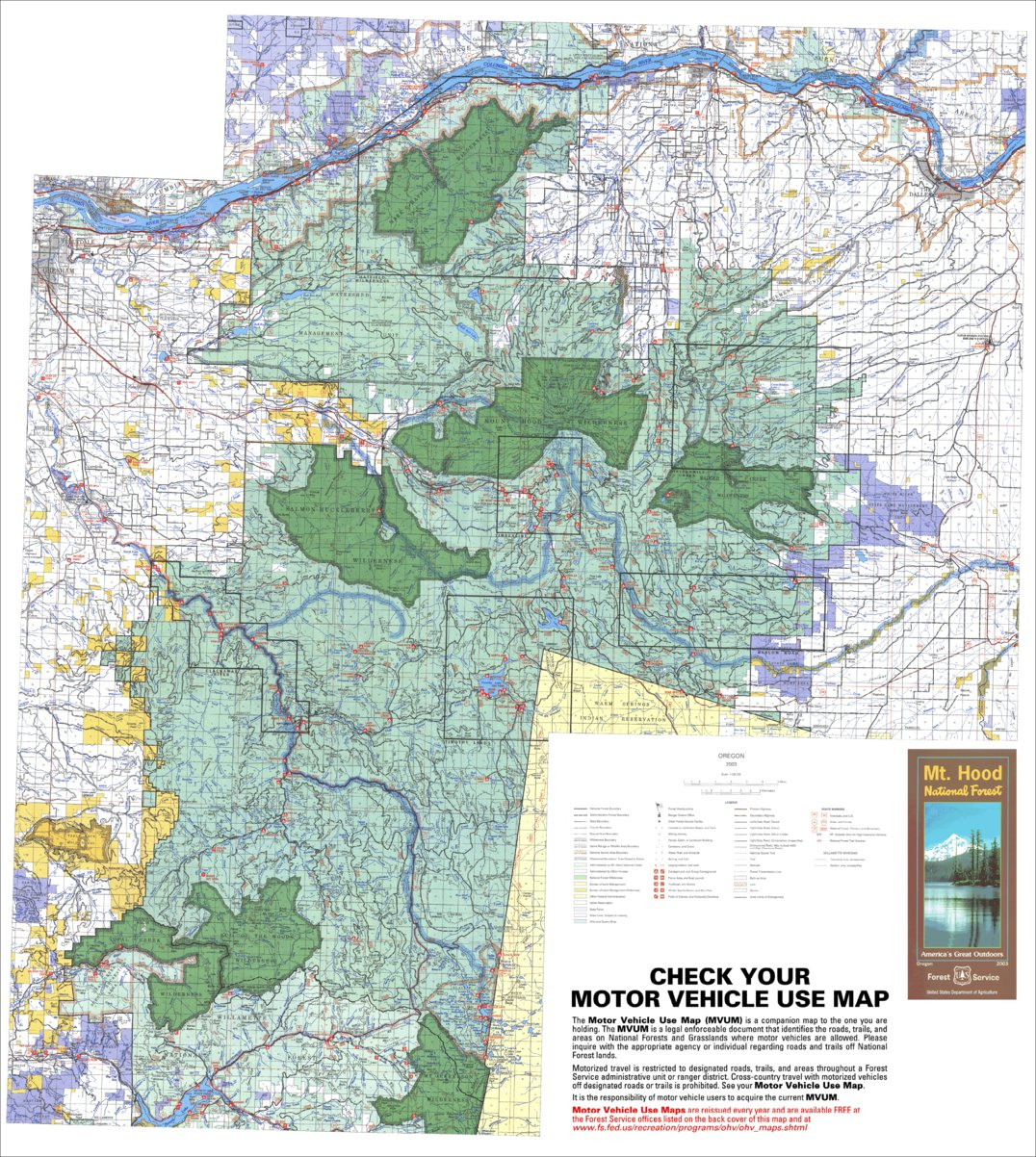 Mount Hood National Forest Visitor Map Us Forest Service R6