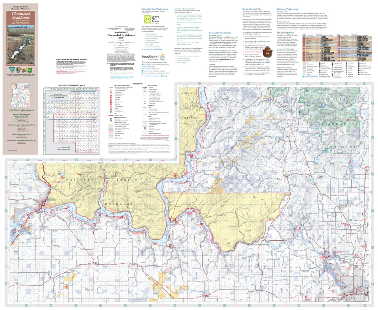 Scablands Washington Map.Channeled Scablands Recreation Map North Us Forest Service R6