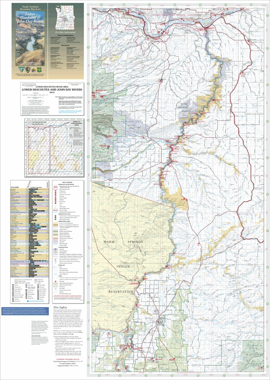 Lower Deschutes & John Day Rivers Recreation Map - Deschutes River on