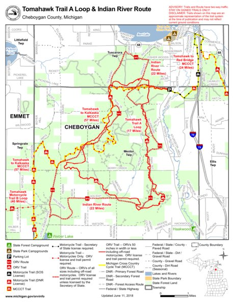 Tomahawk Trail A Loop And Indian River Route Mi Dnr Avenza Maps