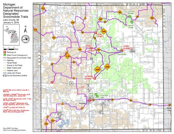 Lake County Snowmobile Trails Mi Dnr Avenza Maps