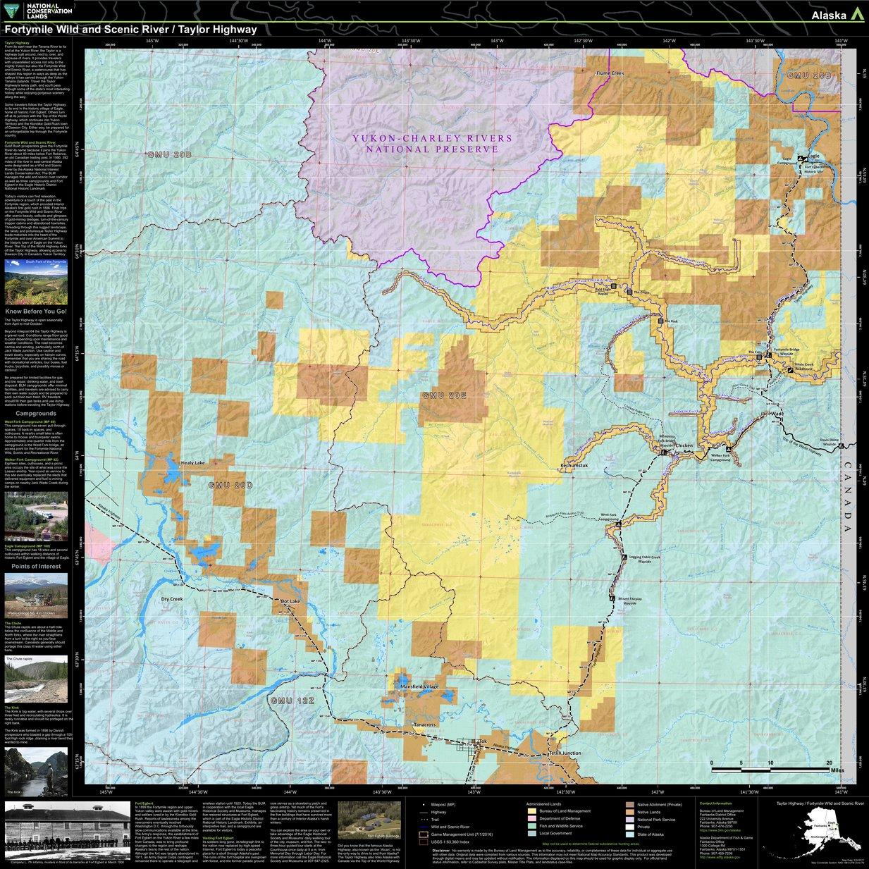 20 Mile River Alaska Map.Fortymile National Wild And Scenic River Taylor Highway Bureau