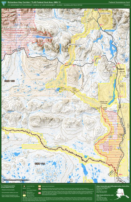 Alaska Gmu 13 Tlad Richardson Highway Corridor Federal Subsistence Hunt Bureau Of Land Management Alaska Avenza Maps