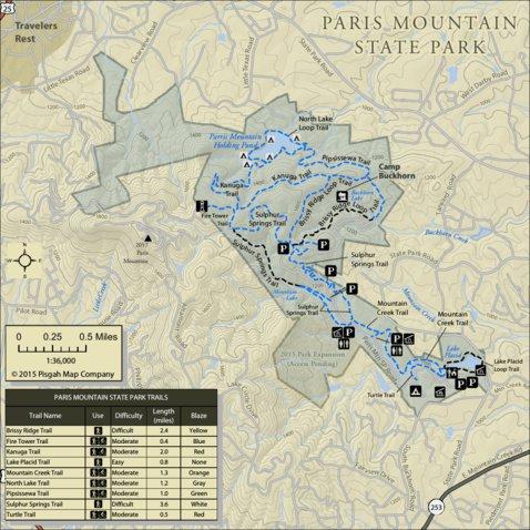Paris Mountain State Park Map Paris Mountain State Park   Pisgah Map Company, LLC   Avenza Maps