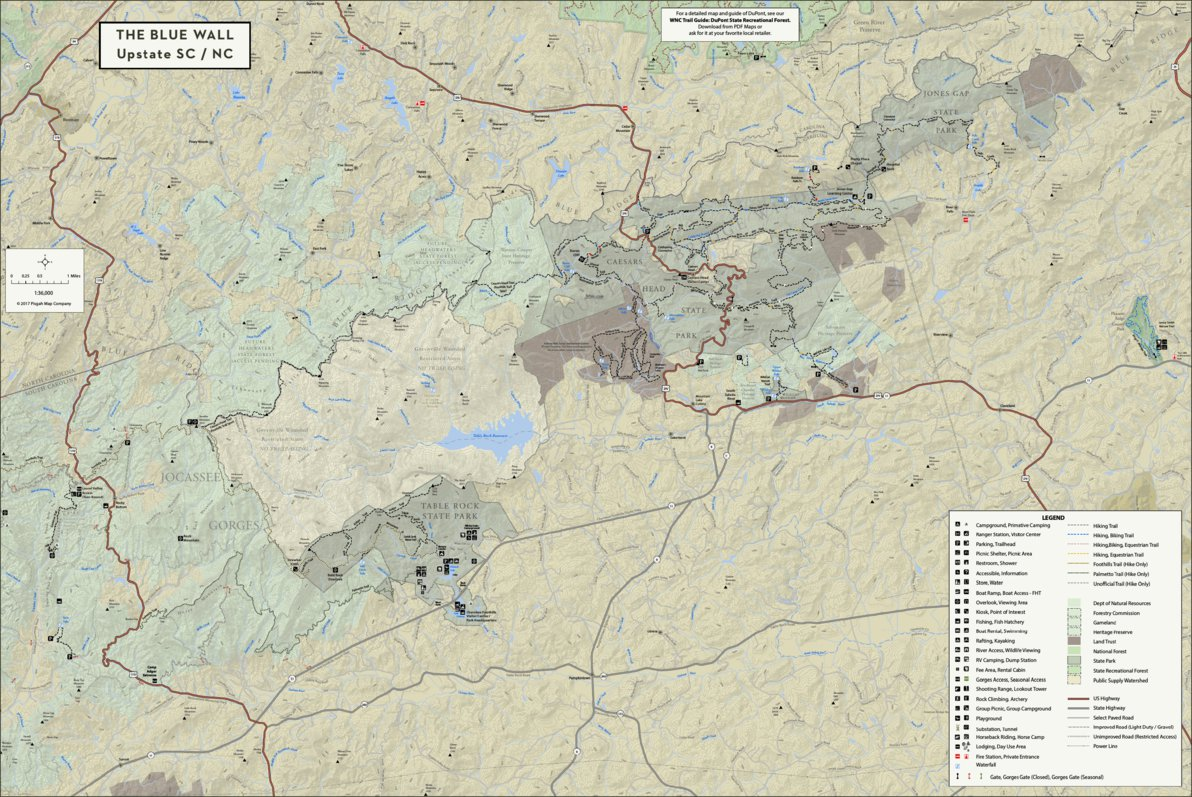 Pisgah Forest Nc Map.The Blue Wall East Upstate Sc Trail Guide Pisgah Map Company