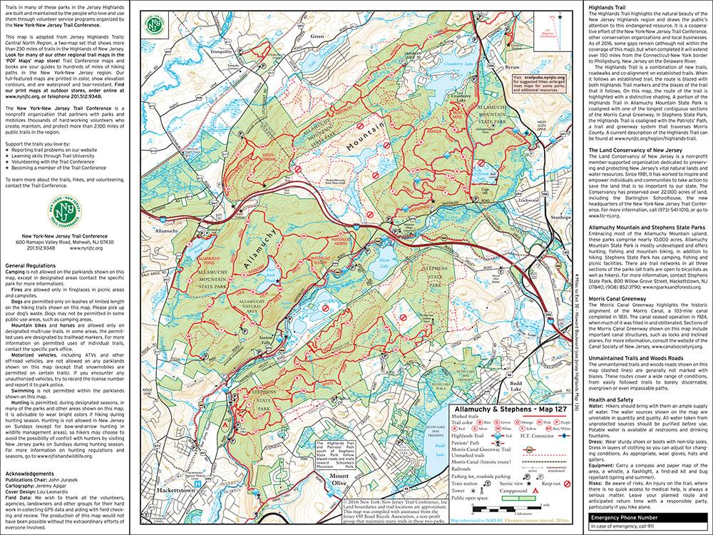 127 - Jersey Highlands (Allamuchy/Stephens) - 2016 - Trail Conference