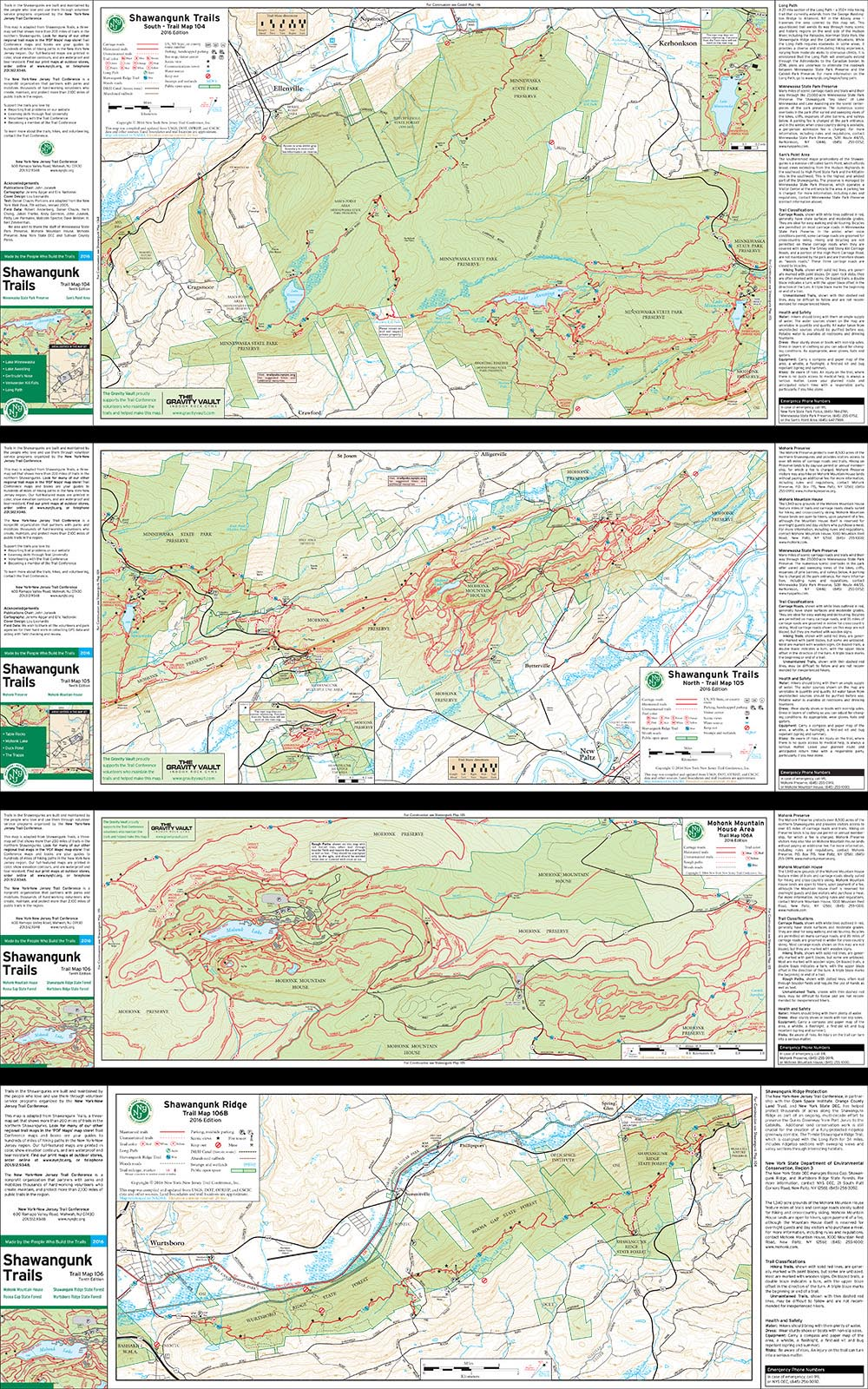 Bundle - 4-Map Shawangunk - 2016 - Trail Conference