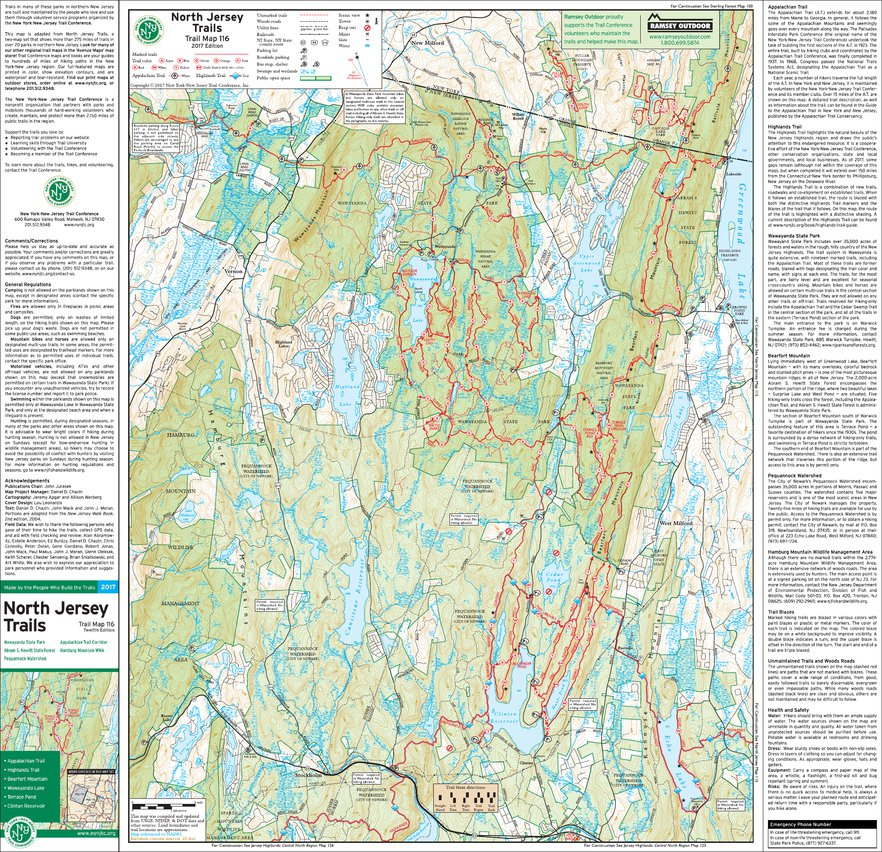 Map Of North Jersey 116   North Jersey (West)   2017   Trail Conference   New York New