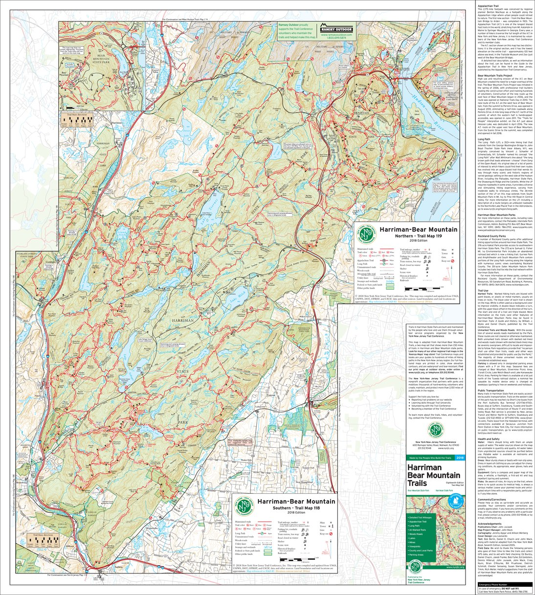 Harriman-Bear Mountain Combined Map - 2018 - Trail Conference - New ...