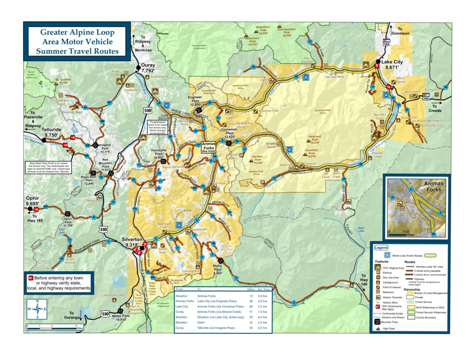 Alpine Loop Backcountry Byway Travel Map Great Outdoors