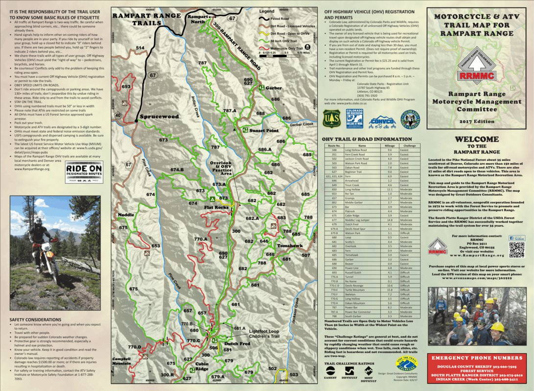 Rampart Range Trails Map - Great Outdoors Consultants ... on c&o towpath map, o c md map, c&o canal map,