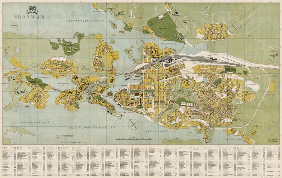 Viipurin Kaupungin Kartta 1935 Viipuri Vyborg City Map 1935