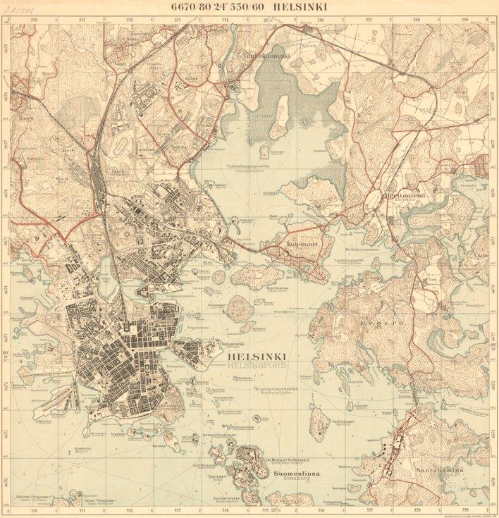 Helsinki City Topographic Map Of 1932 Helsingin Kaupungin Kartta