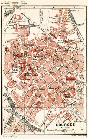 Bourges city map 1885 Waldin Avenza Maps