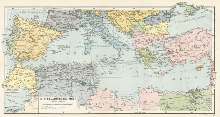 Map of the Countries of the Mediterranean, 1909