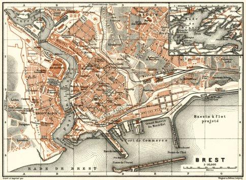 Brest city map 1913 Waldin Avenza Maps