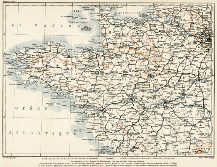 Map Of Northwest France.Northwest France 1909 Waldin Avenza Maps