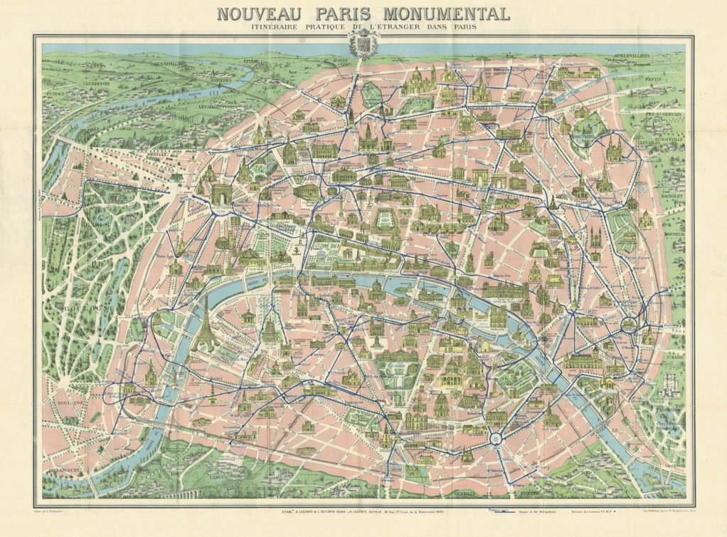 Paris city map. Monumental Plan of Paris, about 1910