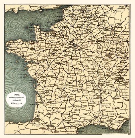 Rail Map Of France.Railway Map Of France Legend In Russian 1900 Waldin Avenza Maps