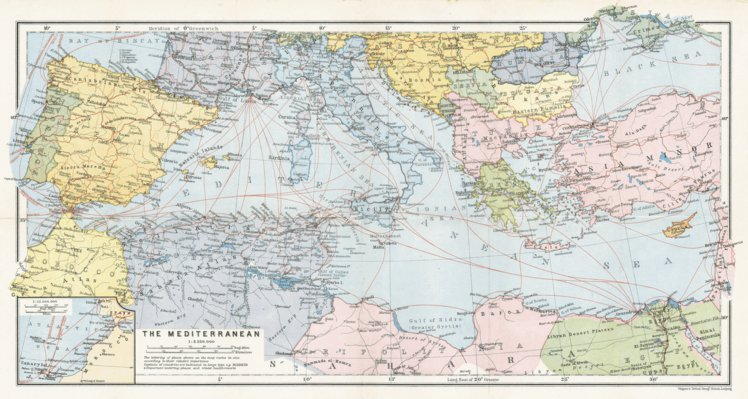 Map of the Countries of the Mediterranean, 1911