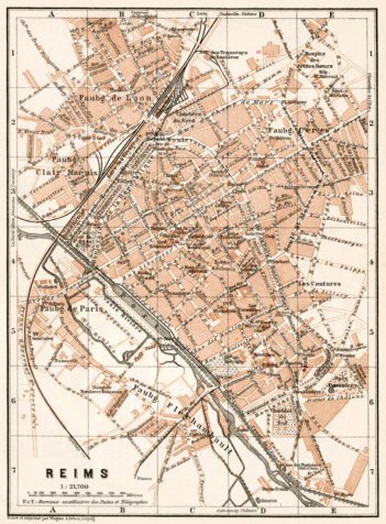 Reims city map, 1909 - Waldin - Avenza Maps