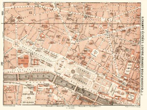 Central Paris districts map: Champs-Élysées, Louvre and Grands ...