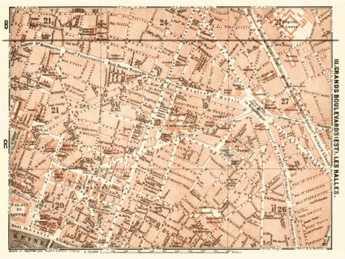 Central Paris districts map: Grands Boulevards and Les Halles, 1903 ...