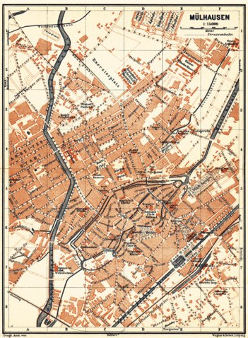 Mlhausen Mulhouse city map 1905 Waldin Avenza Maps