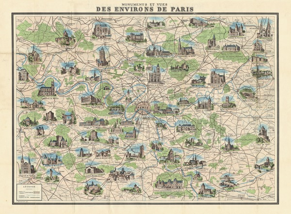 Paris environs, illustrated map, about 1910