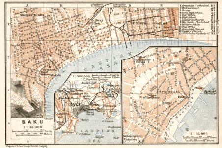 Baku Bak city map 1914 Waldin Avenza Maps