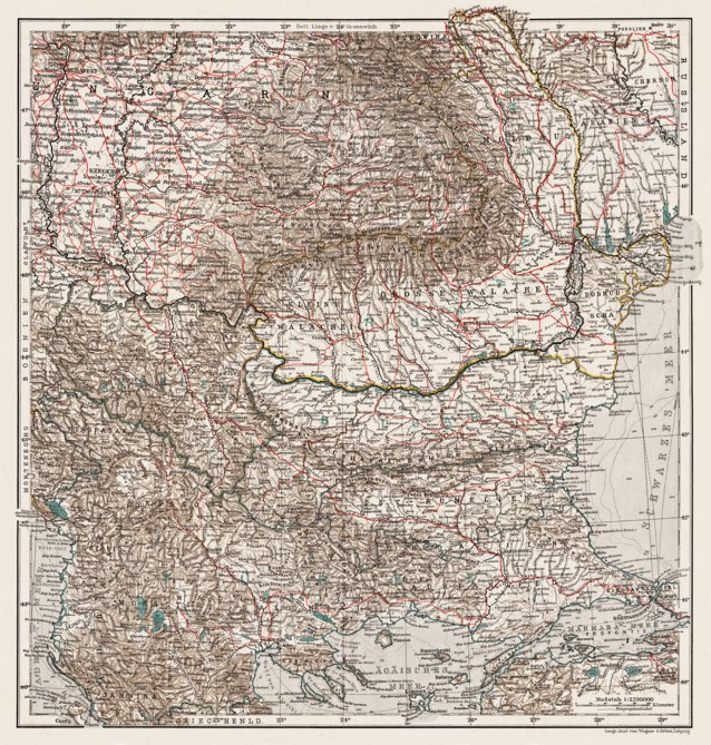 General Map of the Balkan Countries, 1905